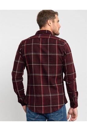 Tudors Slim Fit Unisex Kışlık Kareli Bordo Gömlek 3