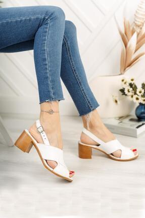 Diego Carlotti Kadın Beyaz Hakiki Deri Topuklu Sandalet 1