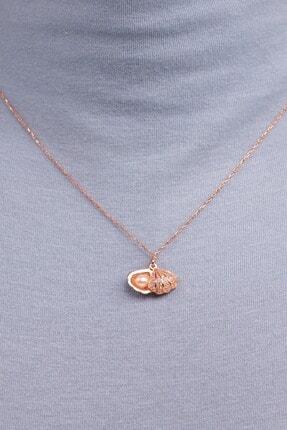 Mode Silver Saklı Inci Rose Gold Gümüş Kolye 2