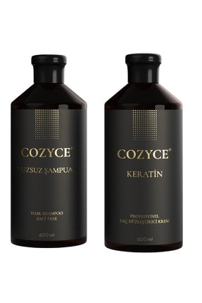 Cozyce Tuzsuz Şampuan 600 ml + Keratin Saç Bakımı 600 ml Brezilya Fönü Keratini 2'li Set 1
