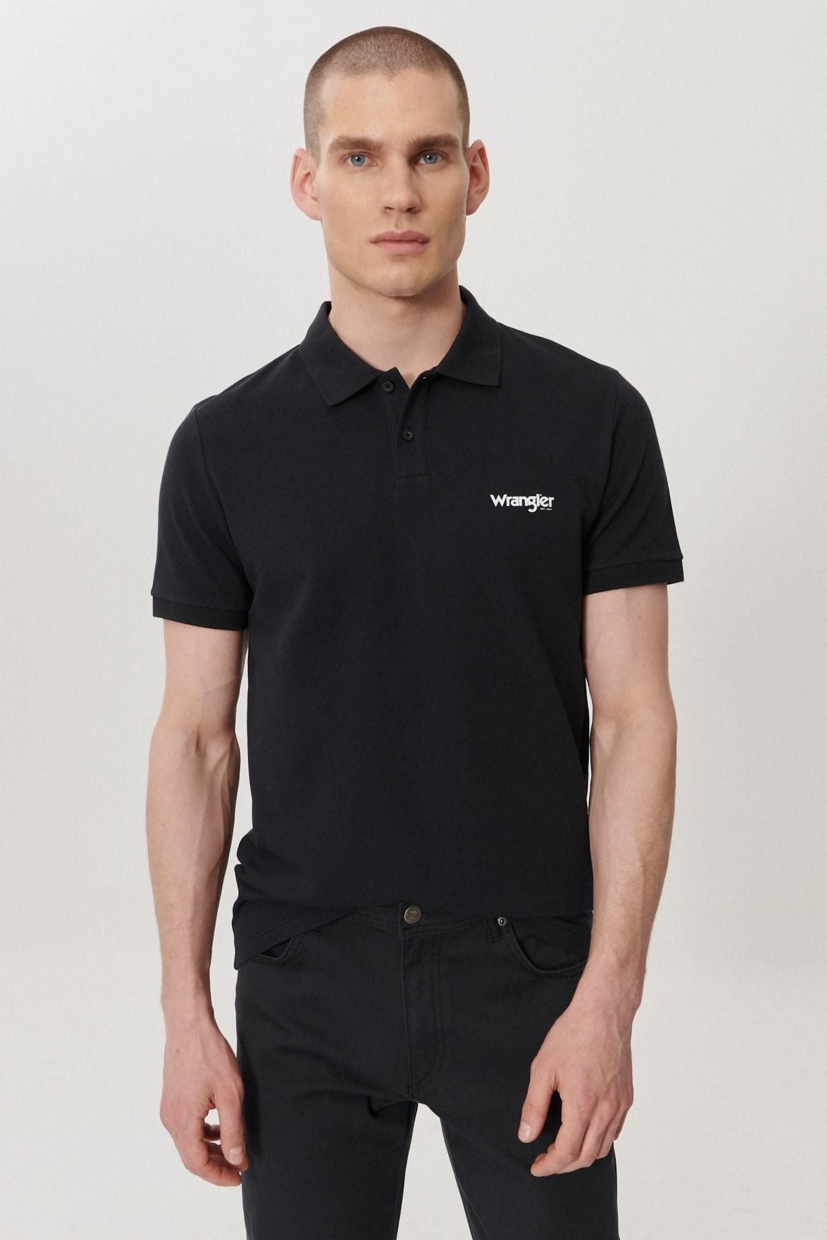 Wrangler Erkek Siyah Regular Fit Polo Yaka T-Shirt 2