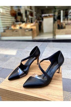 8 Cm Topuklu Şeffaf Detaylı Topuklu Siyah Cilt Topuklu Ayakkabı 0099