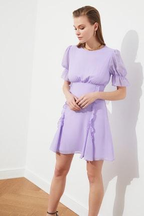 TRENDYOLMİLLA Lila Fırfır Detaylı Şifon Elbise TPRSS21EL0889 1