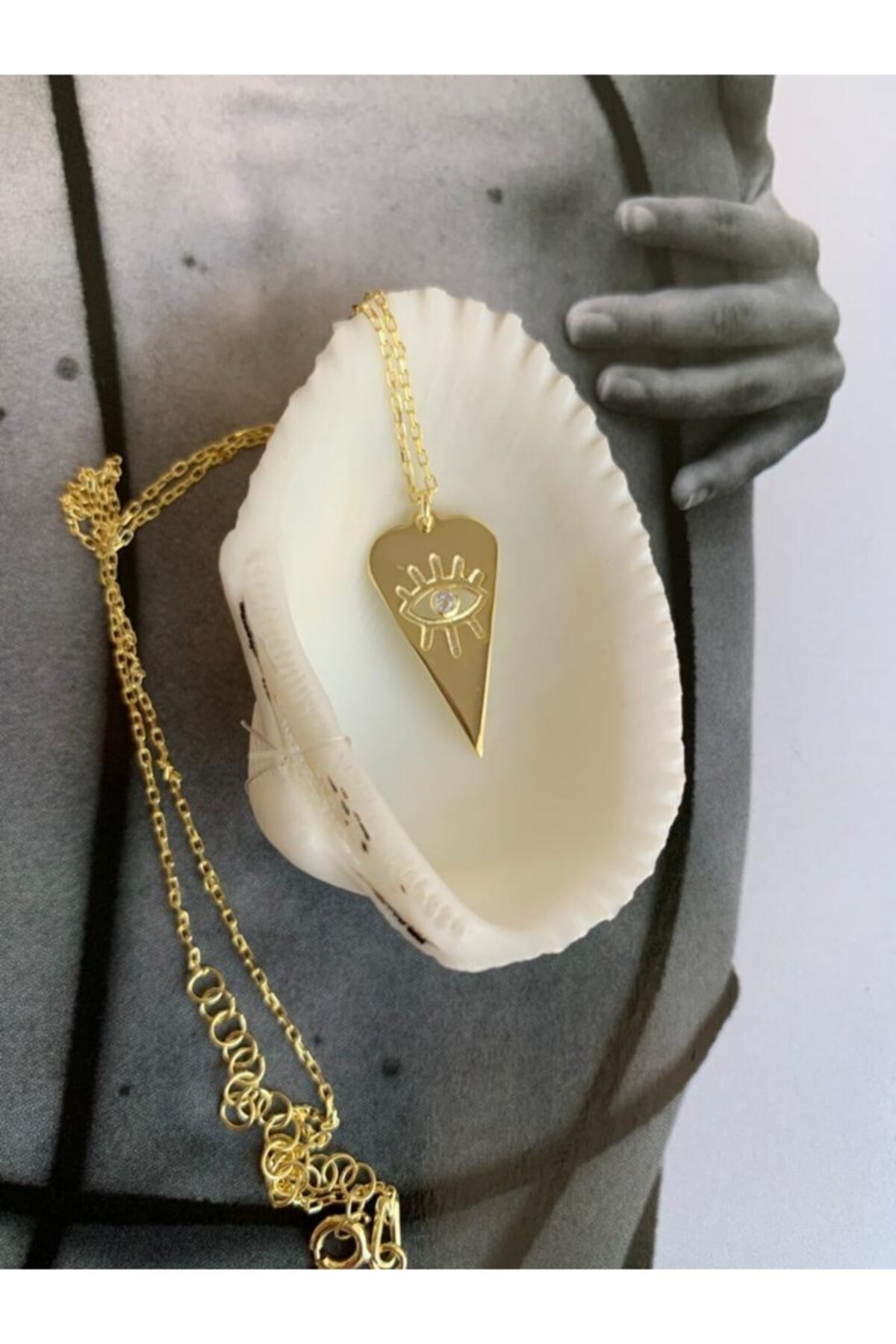 bvjewel 925 Ayar Gümüş Üçgen Taşlı Göz Kolye