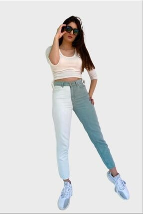 Kadın Kontrast Mom Jean Kot Pantolon Mint Beyaz P502S895