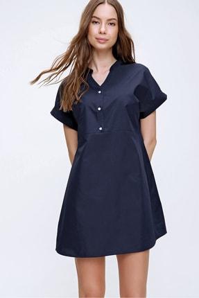 Trend Alaçatı Stili Kadın Lacivert Hakim Yaka Basic Dokuma Elbise ALC-X6053 3