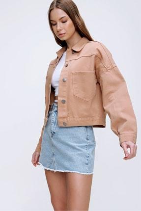Trend Alaçatı Stili Kadın Açık Bej Crop Denim Ceket ALC-X3631-RV 1