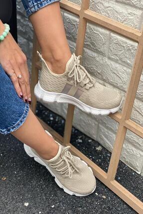İnan Ayakkabı Kadın Bej Triko Spor Ayakkabı 2