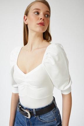Happiness İst. Kadın Beyaz Balon Kollu V Yaka Bluz ZV00112 2
