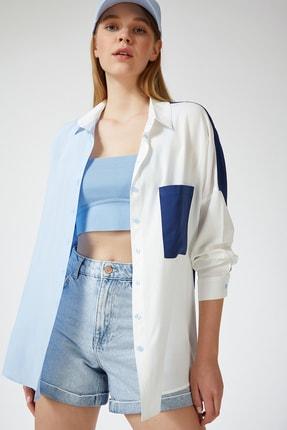 Happiness İst. Kadın Mavi Blok Renkli Oversize Viskon Gömlek DD00843 1