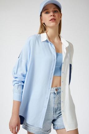 Happiness İst. Kadın Mavi Blok Renkli Oversize Viskon Gömlek DD00843 2