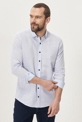 Altınyıldız Classics Erkek Mavi Tailored Slim Fit Dar Kesim Düğmeli Yaka %100 Koton Gömlek 2