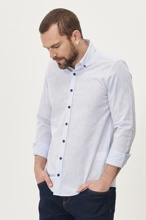 Altınyıldız Classics Erkek Mavi Tailored Slim Fit Dar Kesim Düğmeli Yaka %100 Koton Gömlek 3