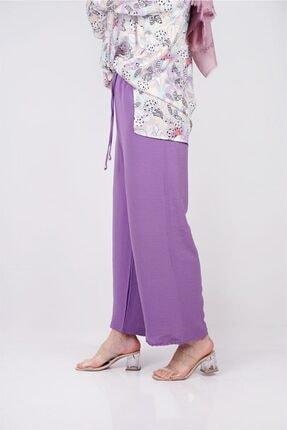 Moda Bu Huban Moda Kadın Lila Beli Lastikli Bol Paça Salaş Yazlık Pantolon Aerobin-865829 3