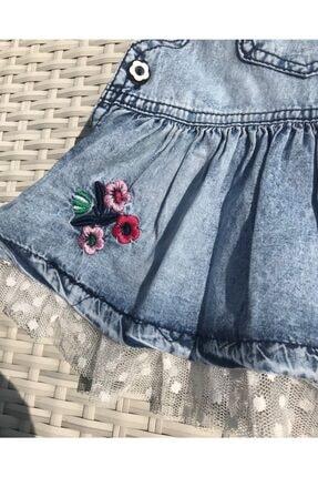 İLAYDA BABY STORE Kadın  Mavi Işlemeli Tüllü Kot Jile File Çorap Takım 1