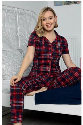 Sevil Giyim Kadın Kırmızı Ekoseli Örme Pijama Takım 0