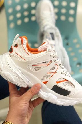 NOVELYA Beyaz Turuncu Çizgili Track Yüksek Taban Unisex Sneakers Ayakkabı 3