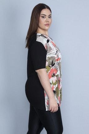 Şans Kadın Siyah Önü Çiçek Desenli Viskon Bluz 65N23110 2
