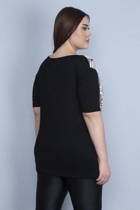 Şans Kadın Siyah Önü Çiçek Desenli Viskon Bluz 65N23110 3