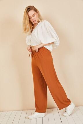 Moda Bu Kadın Kiremit Beli Lastikli Bol Paça Salaş Yazlık Pantolon 1