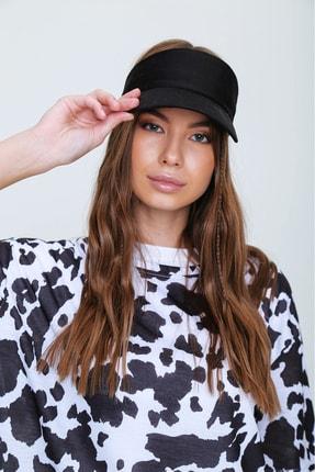 Trend Alaçatı Stili Kadın Siyah Tenis Şapkası ALC-A2197 1