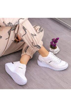 Espardile Kadın Beyaz  Dux Cilt Bağcıklı Spor Ayakkabı 3