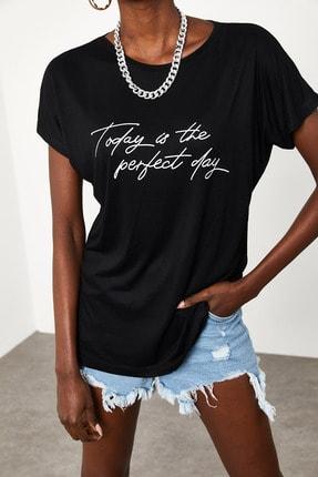Xena Kadın Siyah Yumuşak Dokulu Esnek Örme Baskılı T-Shirt 1KZK1-11560-02 3