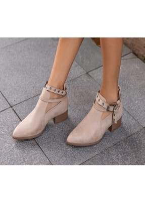 sweet girl Ten Tokalı Yazlık Bot Kadın Ayakkabı Afilli Fermuarlı Mevsimlik 0