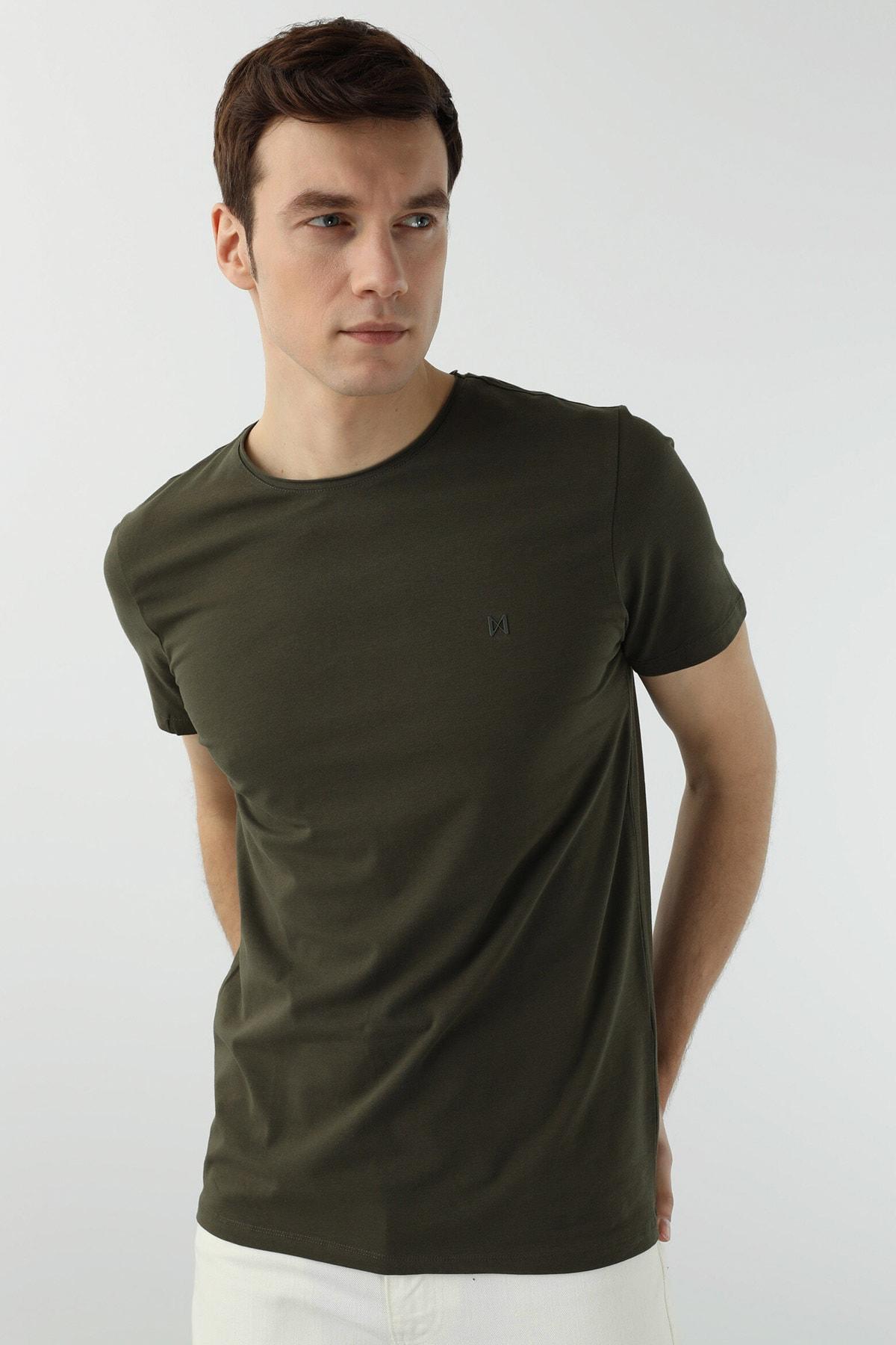 Erkek Slim Fit Haki T-shirt 1077937