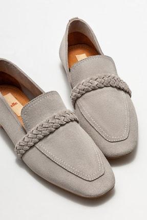 Elle Kadın Gri Deri Loafer Ayakkabı 2