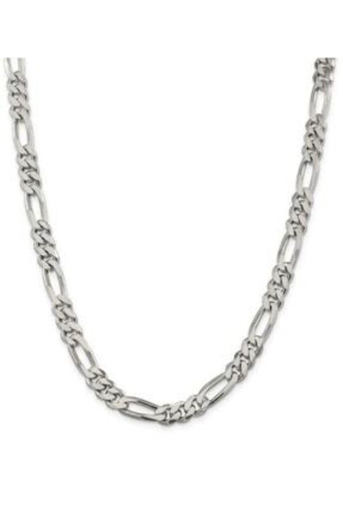 Erkek Silver Encili Gümüş Figaro Zincir Kolye 60 cm 925 Ayar