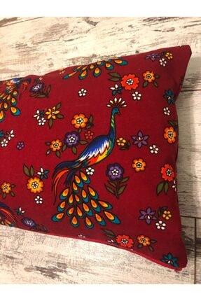 heybelioda Kırmızı Tavus Kuşu Desenli Dekoratif Kırlent Yastık Kılıfı 1