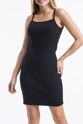 twentyone Kadın Siyah İp Askılı Mini Kaşkorse Elbise 1