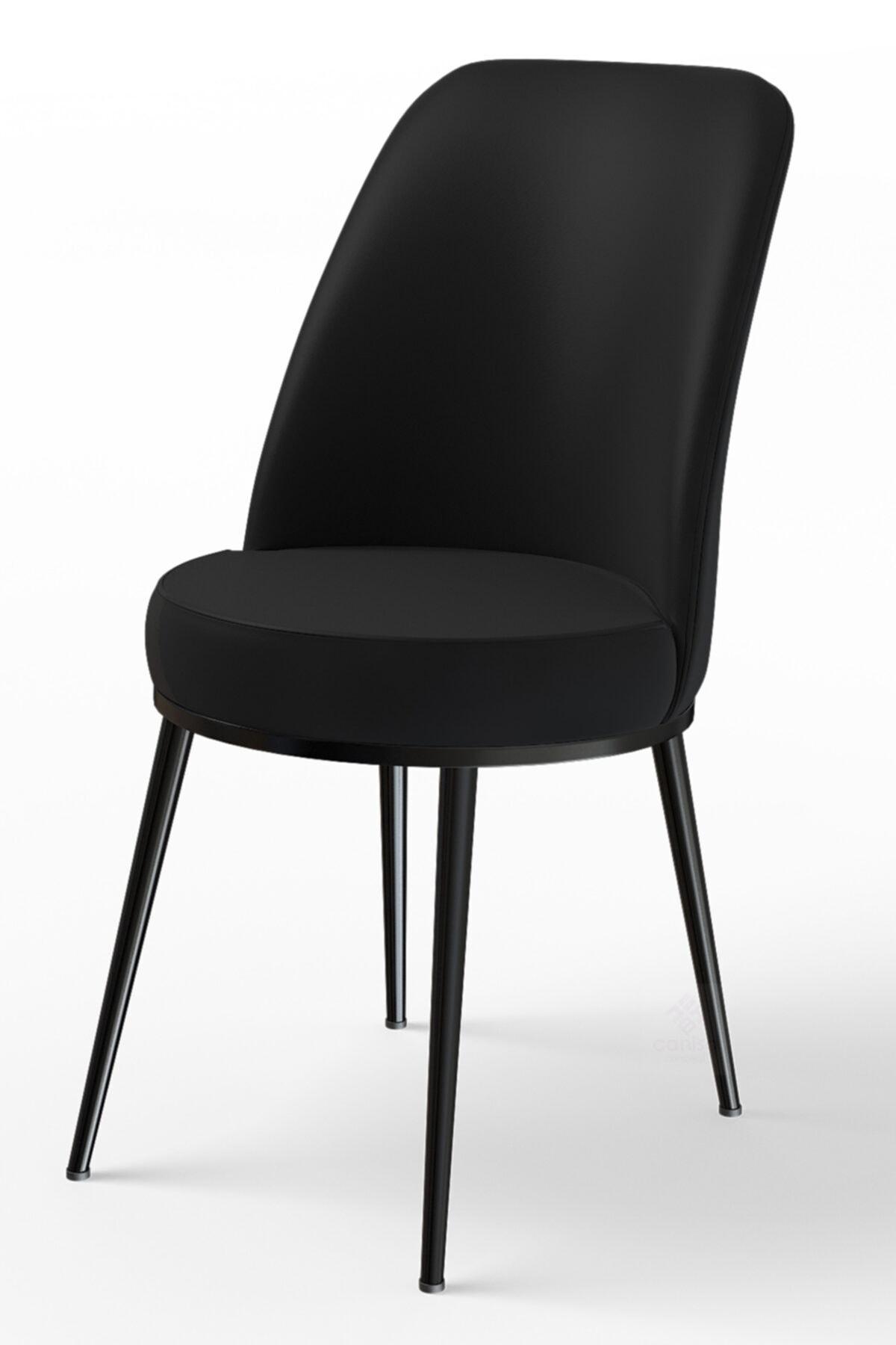 Dexa Serisi Siyah Renk Sandalye Mutfak Sandalyesi, Yemek Sandalyesi Ayaklar Siyah