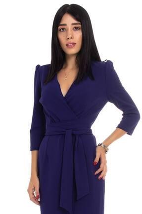 Ayhan Kadın Morcivert Kruvaze Avelop Truvakar Krep Şık Elbise 1
