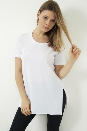 Vis a Vis Kadın Beyaz Yanları Yırtmaçlı Uzun T-shirt 3