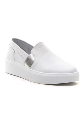 GRADA Kadın Sade Düz Beyaz Hakiki Deri Sneaker Ayakkabı 2