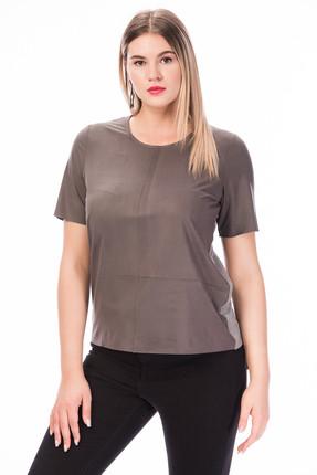 Picture of Kadın Gri Önü Süet Arkası Viskon T-Shirt OBSA3
