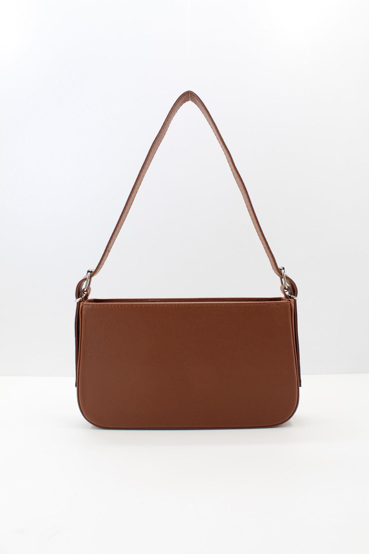 Kadın Fermuarlı Baget Çanta Taba
