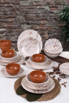 Keramika Kahverengi Mermer Yemek Takımı 24 Parça 6 Kişilik 17802 0