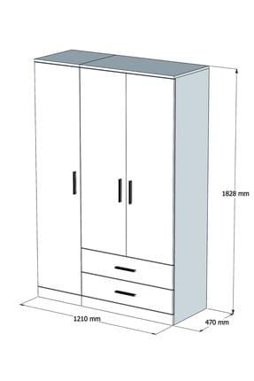 Bimossa K3245 Gardrop 3 Kapılı 2 Çekmeceli Askılı Elbise Dolabı Beyaz 3