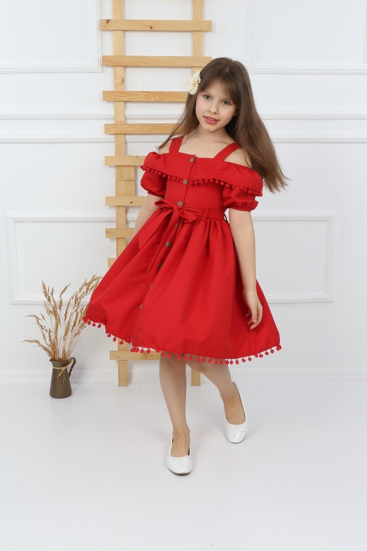 Kız Çocuk Kırmızı Ponponlu Krep Elbise