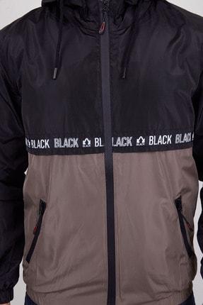 Ette Erkek Siyah Şerit Detay Çift Renkli Kapüşonlu Yağmurluk 4