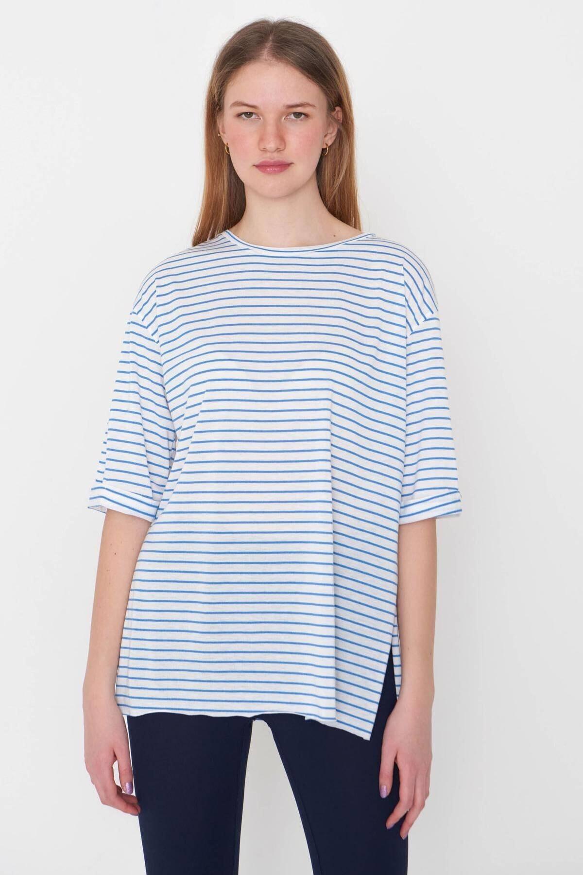 Addax Kadın Saks Mavi Çizgili T-Shirt P6687 - S13 Adx-0000023923 1