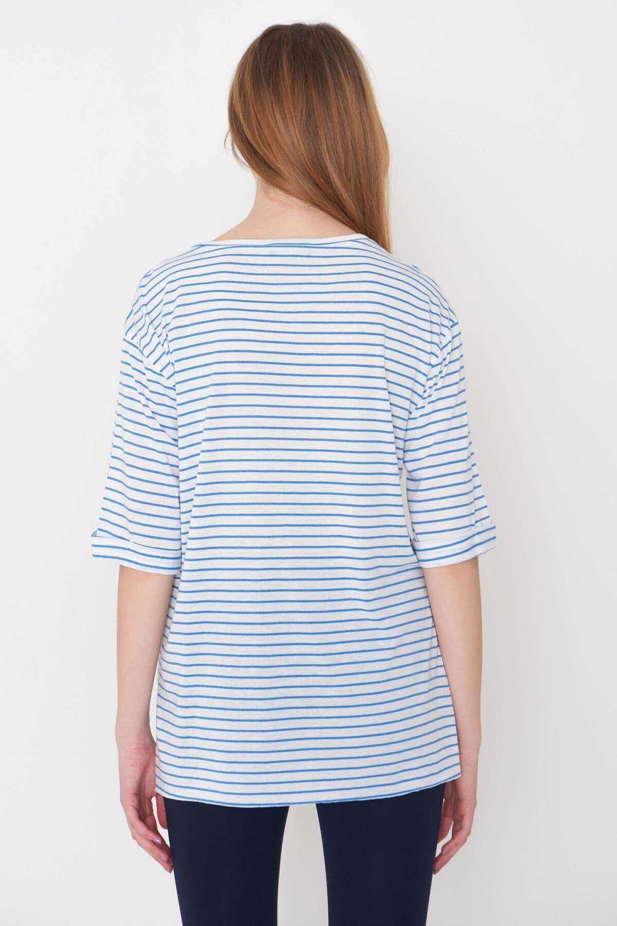 Addax Kadın Saks Mavi Çizgili T-Shirt P6687 - S13 Adx-0000023923 4