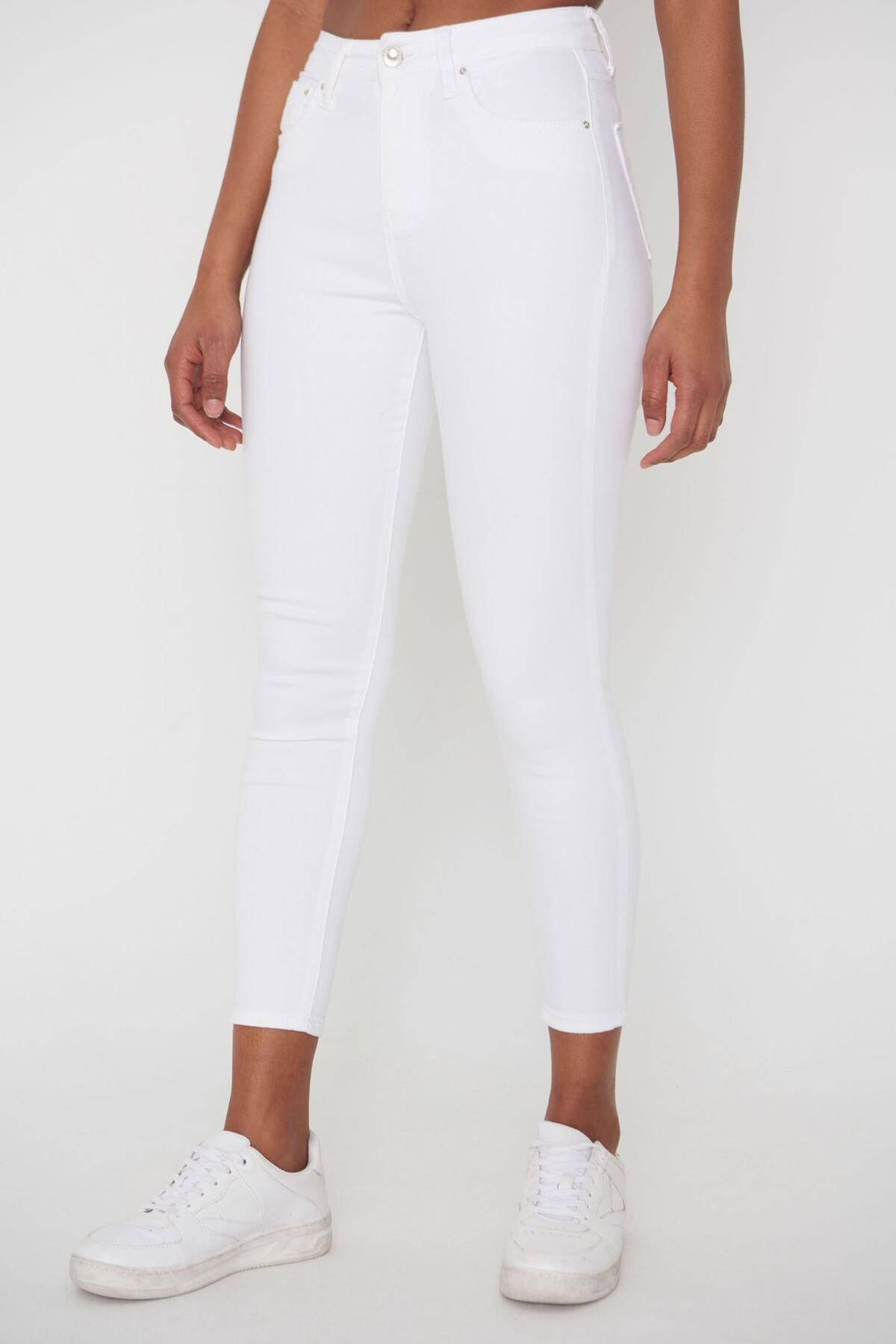Addax Kadın Beyaz Pantolon Pn4424 - Pnj ADX-00008543 1
