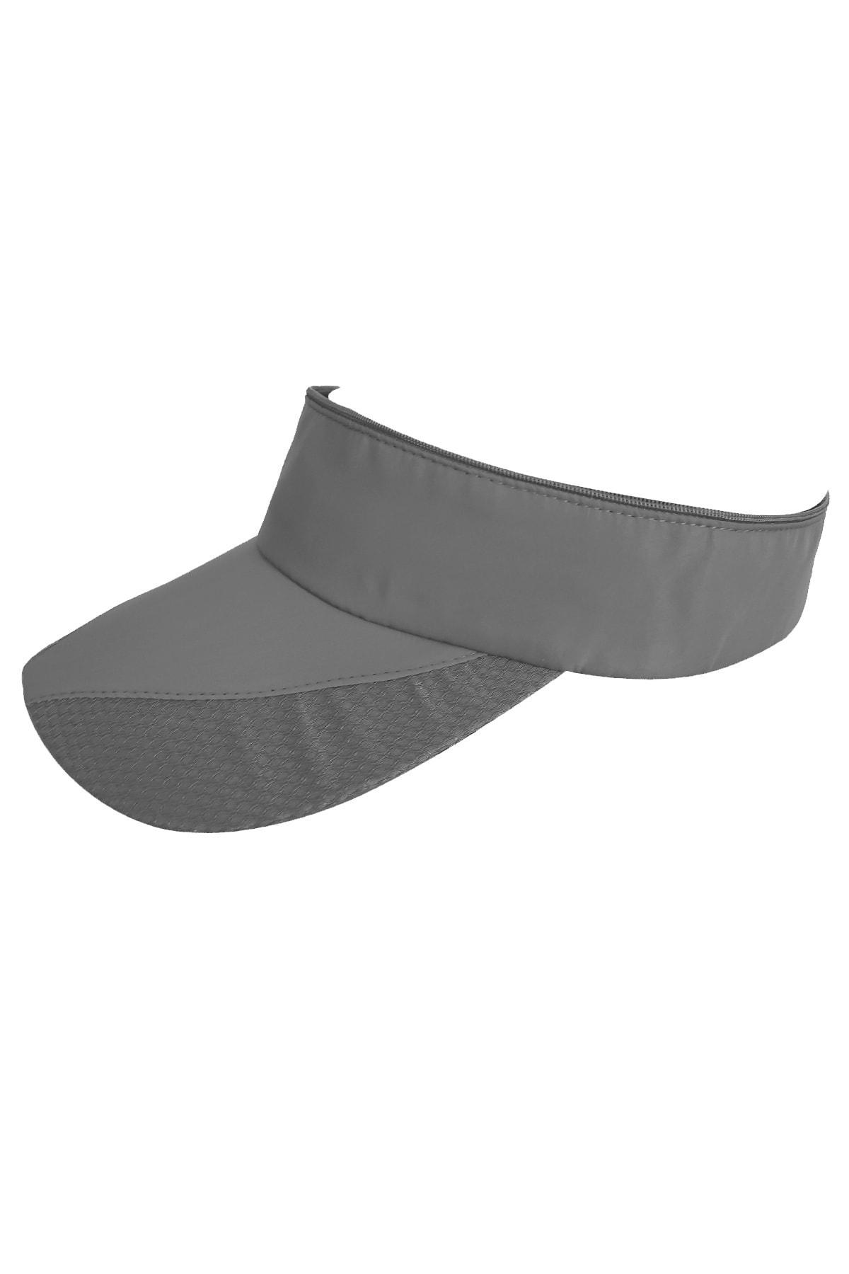 Sporcu Koşu Tenis Şapkası Koyu Gri Vizör Şapka