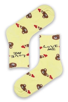 Modernity Kadın Renkli Parfümlü Love Me Baskılı 4'lü Çorap Seti 3