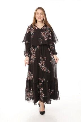 Yare V Yaka Etek Ucu Fırfırlı Uzun Şifon Elbise 0