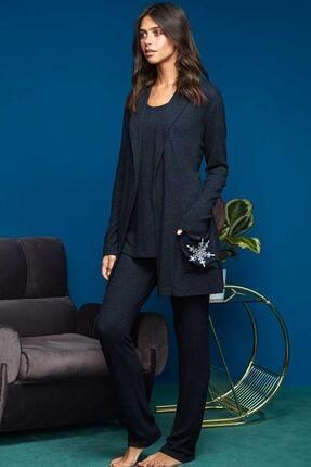 Penye Mood Kadın Lacivert Pijama Takımı 3 Parça 8652 0